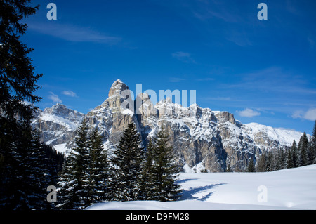 Sassongher Mountain seen from the snow covered Alta Badia ski resort near Corvara in the Dolomites, South Tyrol, - Stock Photo