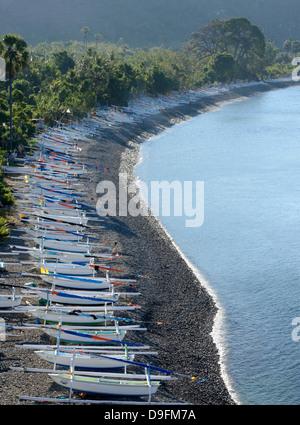 Fishing boats, Amed, Bali, Indonesia, Southeast Asia - Stock Photo