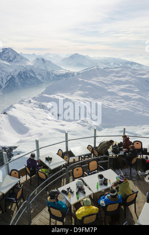 Brevant restaurant, Chamonix, Haute-Savoie, French Alps, France - Stock Photo