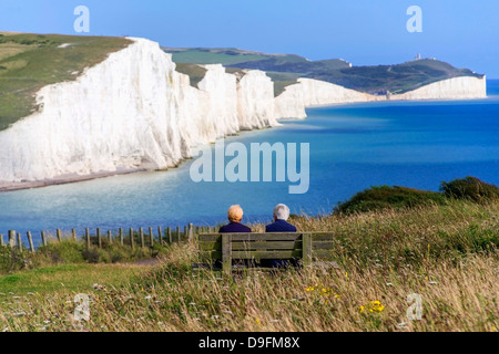 The chalk cliffs of the Seven Sisters from the South Downs Way, South Downs National Park, East Sussex, England, - Stock Photo