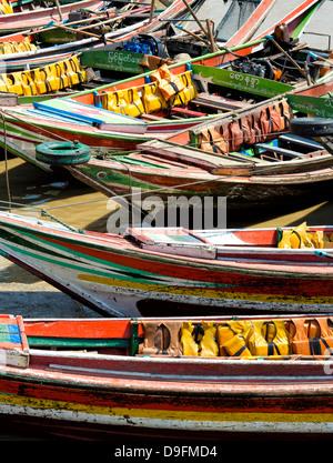 Traditional ferry boats that cross the Irrawaddy River from Mawtin Jetty to Dalah Township, Yangon (Rangoon), Myanmar - Stock Photo