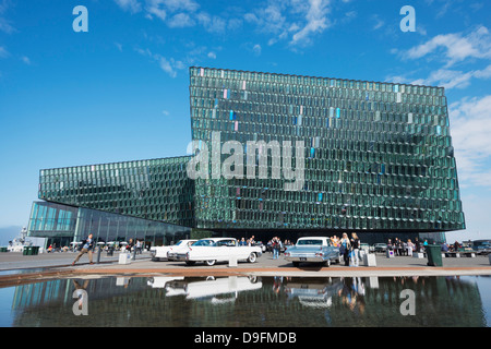 Harpa Concert Hall and Conference Center, the glass facade designed by Olafur Eliasson and Henning, Reykjavik, Iceland - Stock Photo