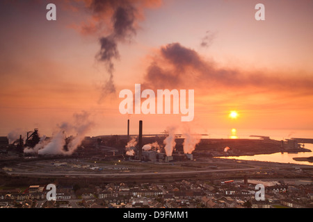 Blast furnaces, Corus Steelworks, Port Talbot, Glamorgan, Wales, UK - Stock Photo