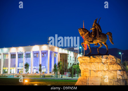 Equestrian statue of Skanderbeg, Tirana, Albania - Stock Photo