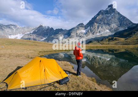 Monte Cervino (The Matterhorn), Breuil Cervinia, Aosta Valley, Italian Alps, Italy - Stock Photo