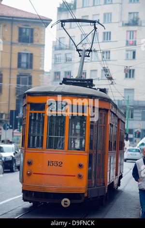 Europe, Italy, Lombardy, Milan, city tram - Stock Photo