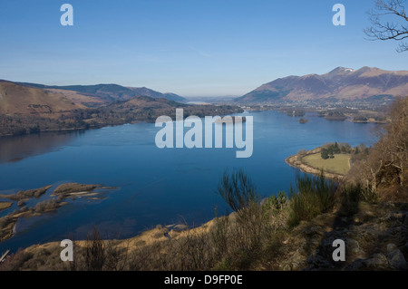 Derwent Water, Keswick, and Skiddaw Fell, from Surprise View, Lake District National Park, Cumbria, England, UK