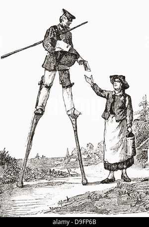 A postman in Landes, Bordeaux, France delivering letters whilst walking on stilts. - Stock Photo