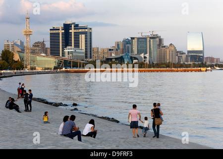 Baku boulevard, a promenade running parallel to the Caspian seafront, Baku, Azerbaijan, Central Asia - Stock Photo