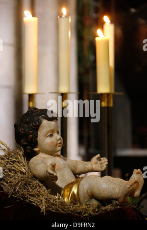 Christmas crib, Notre-Dame de Paris cathedral, Paris, France - Stock Photo