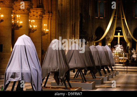 Exhibition of the new bells in the nave, on the 850th anniversary, Notre-Dame de Paris, Paris, France - Stock Photo