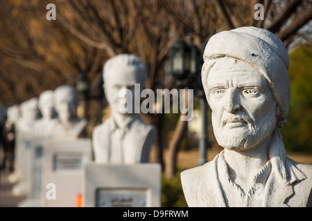 Statue alley in the Minare Park and Shanadar Park in Erbil (Hawler), capital of Iraq Kurdistan, Iraq, Middle East - Stock Photo