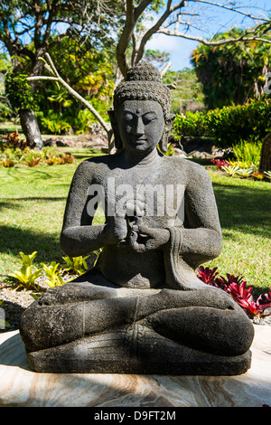Buddhist statues in the Botanical gardens in Nevis island, St. Kitts and Nevis, Caribbean - Stock Photo