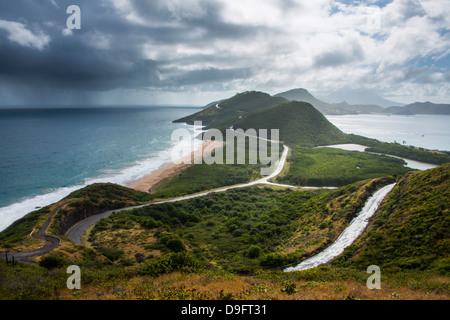 View over Turtle Bay on St. Kitts, St. Kitts and Nevis, Leeward Islands, West Indies, Caribbean - Stock Photo