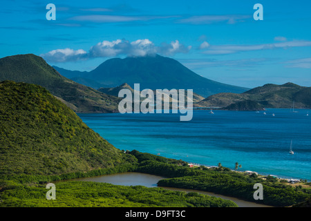View over the South Peninsula on St. Kitts, St. Kitts and Nevis, Leeward Islands, West Indies, Caribbean - Stock Photo