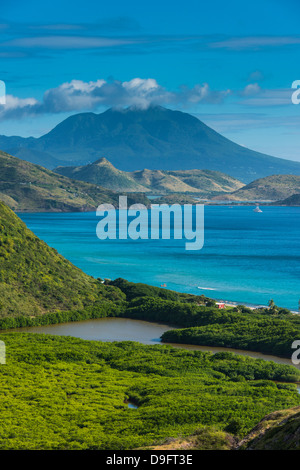 View over the South Peninsula of St. Kitts, St. Kitts and Nevis, Leeward Islands, West Indies, Caribbean - Stock Photo