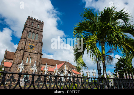 St. Johns Anglican church in Basseterre, St. Kitts, St.Kitts and Nevis, Leeward Islands, West Indies, Caribbean - Stock Photo