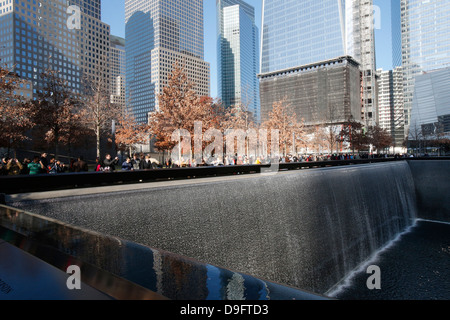 Ground Zero, the National 9/11 Memorial at the site of the World Trade Center in Lower Manhattan, New York, USA - Stock Photo