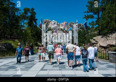 Tourists on their way to Mount Rushmore, South Dakota, USA - Stock Photo
