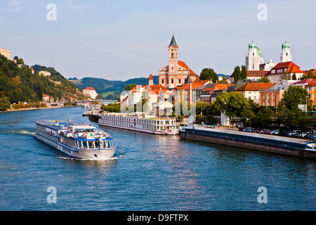 Cruise ship passing on the River Danube, Passau, Bavaria, Germany - Stock Photo