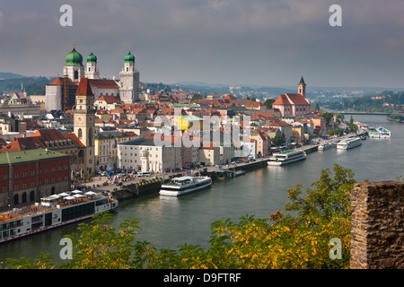 View over the River Danube and Passau, Bavaria, Germany - Stock Photo