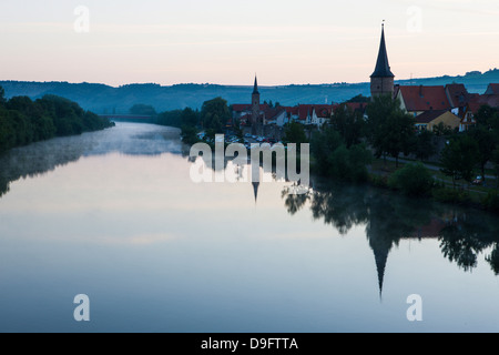 The town of Karlstadt in the Main valley in the morning, Franconia, Bavaria, Germany - Stock Photo