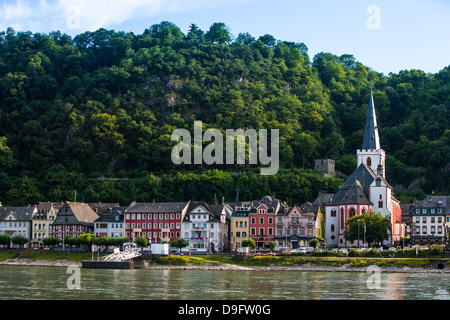 Village of Bacharach in the Rhine valley, Rhineland-Palatinate, Germany - Stock Photo