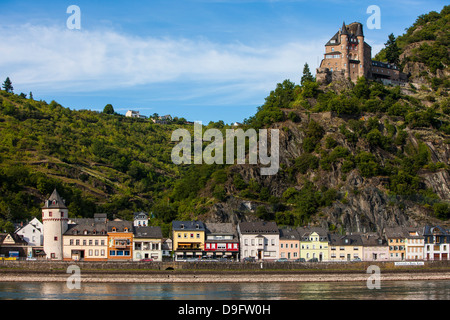 Castle Gutenfels above Kaub in the Rhine valley, Rhineland-Palatinate, Germany - Stock Photo