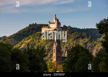 The Marksburg in the Rhine valley, Rhineland-Palatinate, Germany - Stock Photo