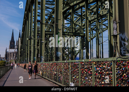 Rhine bridge and Cathedral of Cologne above the Rhine, Cologne, North Rhine-Westphalia, Germany - Stock Photo
