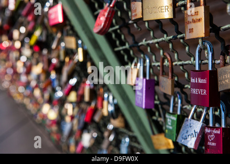 Padlocks, Rhine valley, Germany - Stock Photo