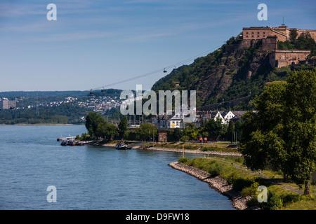Koblenz Fortress, Rhine valley, Koblenz, Rhineland-Palatinate, Germany - Stock Photo