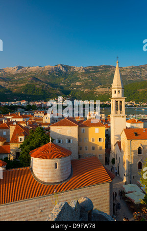 Church of the Holy Trinity on left, and Sveti Ivan (Church of St. John), Old Town (Stari Grad), Budva, Montenegro - Stock Photo