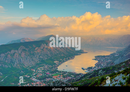 Kotor town in foreground, Bay of Kotor, UNESCO World Heritage Site, Montenegro - Stock Photo