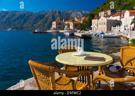 Montenegro, Bay of Kotor, Perast, Waterside Cafe - Stock Photo