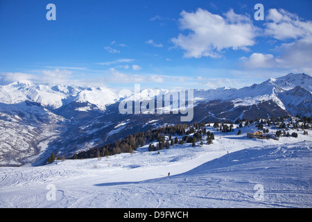 Ski slopes at La Plagne looking to Mont Blanc, Savoie, French Alps, France - Stock Photo