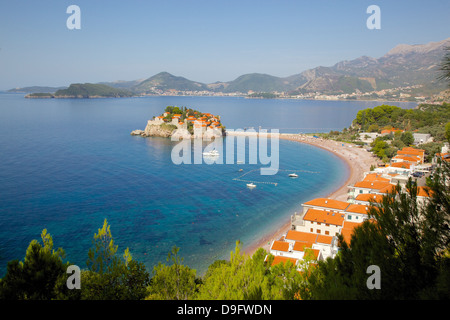 Sveti Stefan, Budva Bay, Budva Riviera, Montenegro - Stock Photo