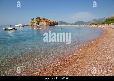 Sveti Stefan, Budva Bay, Budva Riviera, Montenegro - Stock Photo