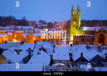 Cathedral of the Peak in snow, Tideswell, Peak District National Park, Derbyshire, England, UK - Stock Photo