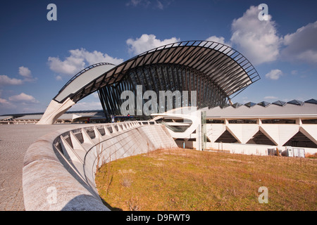 The TGV railway station of Lyon Saint Exupery, which serves the airport, Lyon, Rhone Alpes, France - Stock Photo