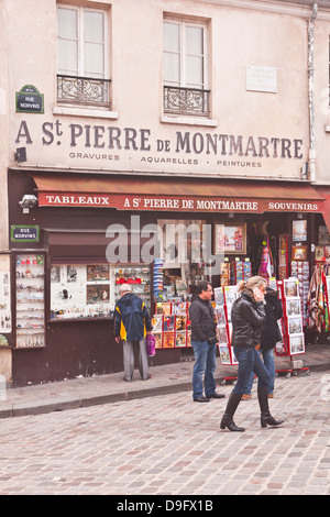 A street scene in the Montmartre area of Paris, France - Stock Photo