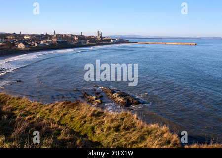 East Sands and Pier from the Clifftop, St. Andrews, Fife, Scotland, UK - Stock Photo