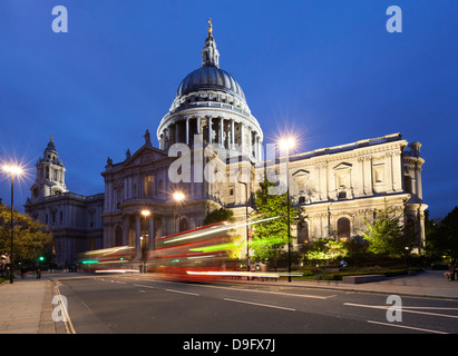 St. Paul's Cathedral at night, London, England, UK - Stock Photo