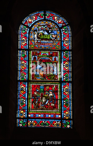 Stained glass window in the Cathedral Church of St Nicholas Stock ...
