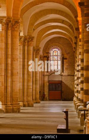 An aisle in St.-Julien du Mans Cathedral, Le Mans, Sarthe, Pays de la Loire, France - Stock Photo
