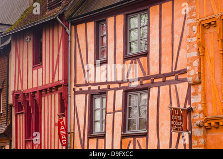 Half timbered houses in the old town of Le Mans, Sarthe, Pays de la Loire, France - Stock Photo