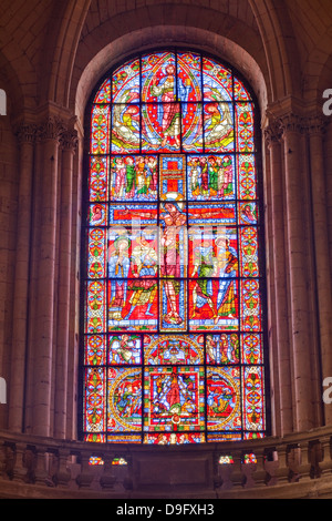 The famous stained glass window of the Crucifixion of Christ in Poitiers cathedral, Vienne, Poitou-Charentes, France - Stock Photo