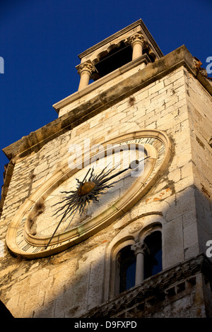 Clock tower with medieval sundial in the Peoples Square  Narodni trg, Old Town, Split, Dalmatia, Croatia - Stock Photo