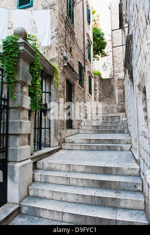 Dubrovnik Old Town, one of the narrow side streets, Dubrovnik, Croatia - Stock Photo