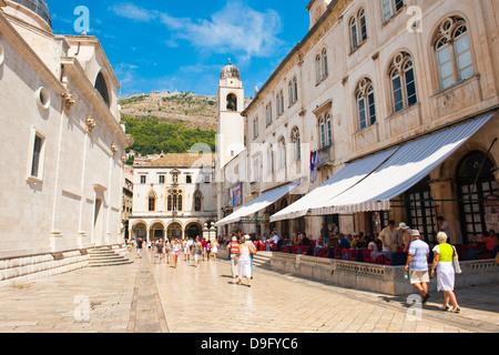 Dubrovnik City Bell Tower, Old Town, UNESCO World Heritage Site, Dubrovnik, Dalmatia, Croatia - Stock Photo